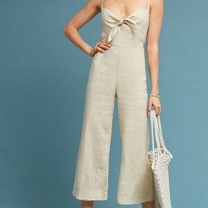 Anthropologie Faithfull Cropped Linen Jumpsuit